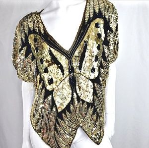 Vintage Gold Black Butterfly Sequins Top